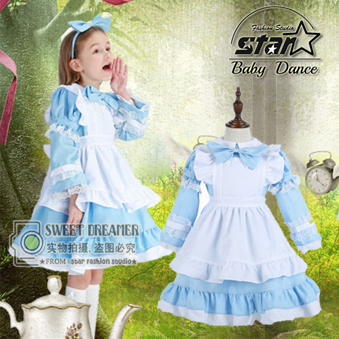 Girl Japanese Cosplay Costume Alice In Wonderland Kids Maid Coffe Shop Lolita Dress Fantasia Carnival Costumes For Kid Child<br>