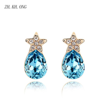 ZH.KH.ONG Fashion water drop crystal stud earrings Luxury Five-pointed star embed zircon jewelry women E289 - ZH KH ONG Store store
