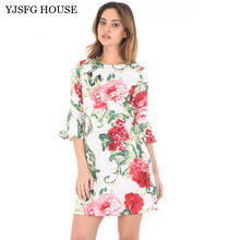 YJSFG HOUSE Vintage Women Evening Party Dresses Sexy Elegant Autumn Half Sleeve Short Dress Ladies Office Work Ruffled Dress
