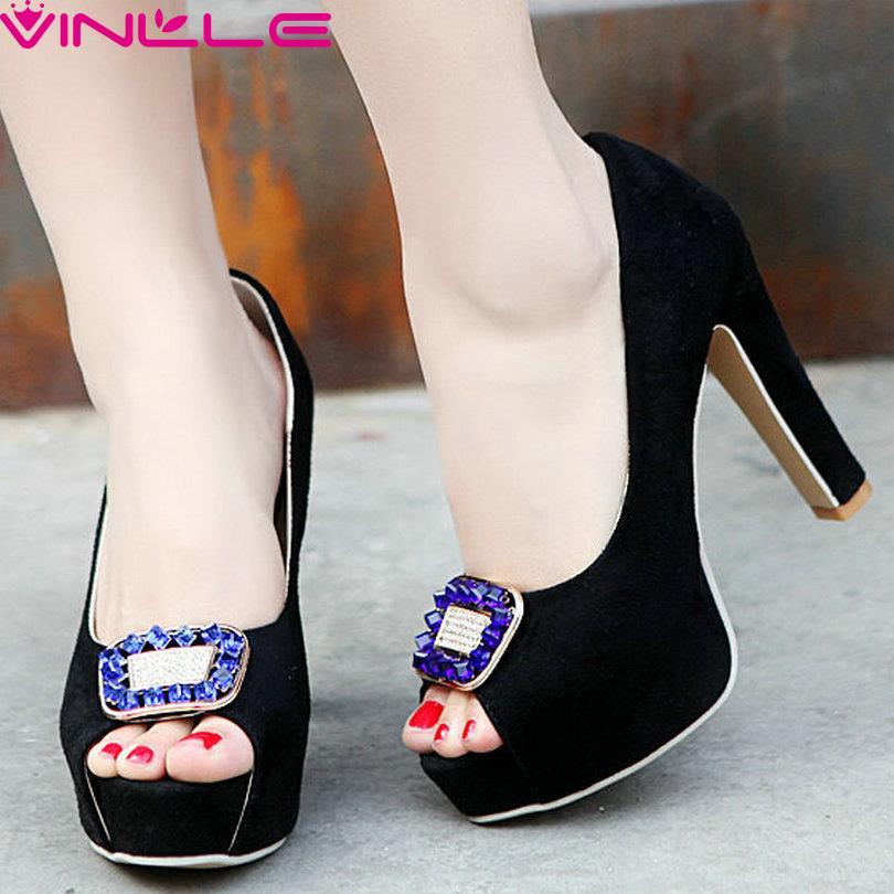 Sexy Flock Peep Toe Platform Shoes Slip on Square High Heels Women Pumps Rhinestone Summer Girl Party Platform Shoes Black Pink<br><br>Aliexpress