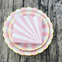 Free Shipping 36pcs Pink and White Stripe Paper Plates Gold Foil Scallop Modern Party Paper Plates and Napkins for Baby Shower(China)