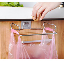 Metal Hanging Garbage Bags Rack Kitchen Wash Cloth Towel Storage Holders Wall Hanging Cupboard Cabinet Stand Organizer Shelf(China)