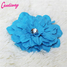 2017 Hot Sale Blue Big Flower Blooming Fabric Flower Brooch Hair Clip Boutique Headdress Hair Accessories For Bridal Wedding(China)