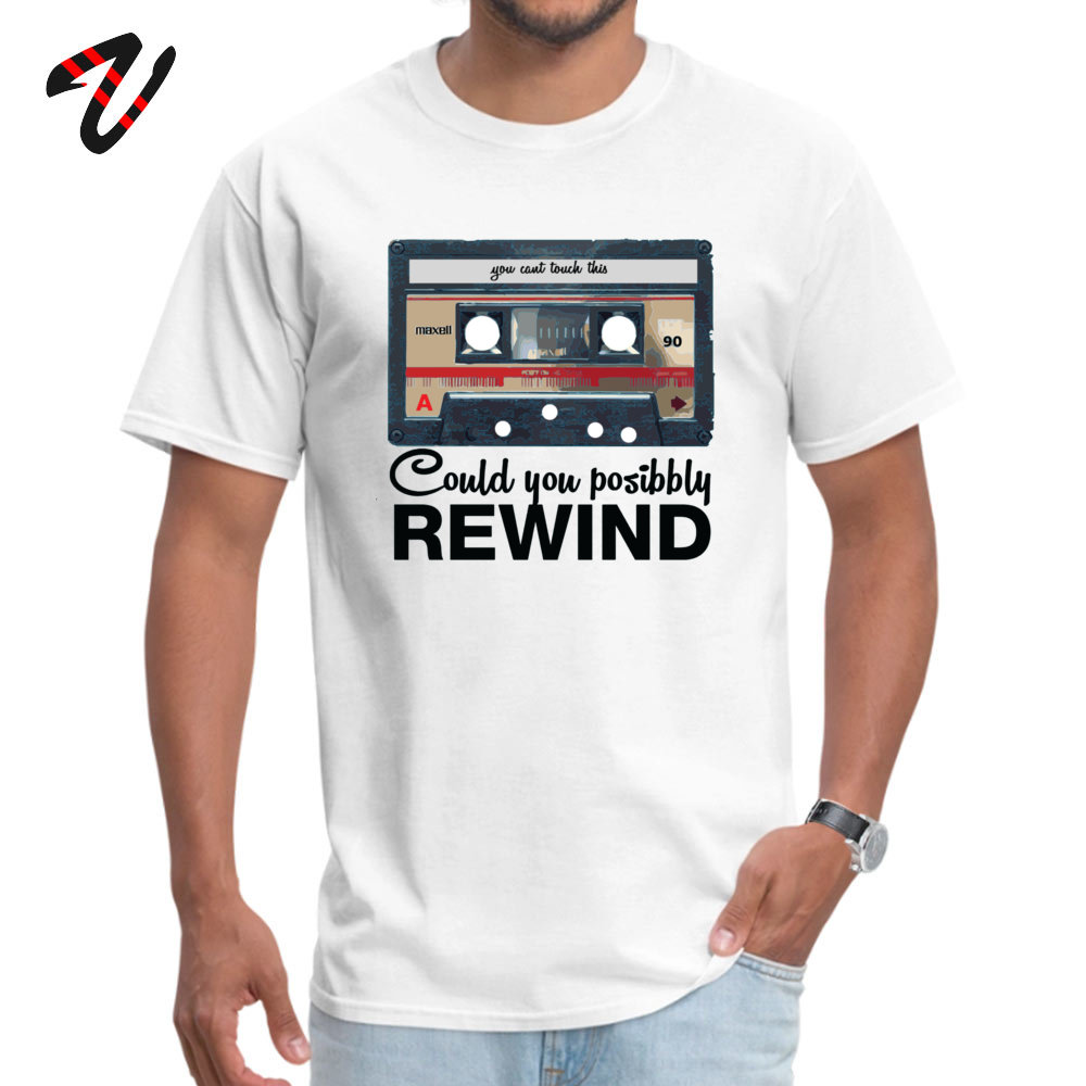Men's T Shirts Custom Summer Tops Shirts Cotton Fabric O Neck Short Sleeve Casual Clothing Shirt ostern Day Top Quality COULD YOU POSSIBLY REWIND OLD SCHOOL 4439 white