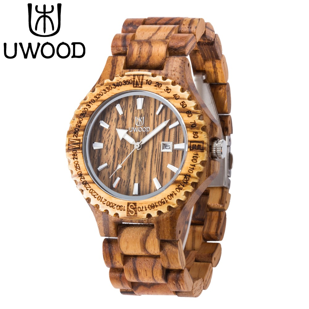 Men's Wooden Watch 2016 Newest Japan Movt Quartz Analog Date Natural Zebra Wood Watch Men Wristwatches Best Gift Free Shipping(China)