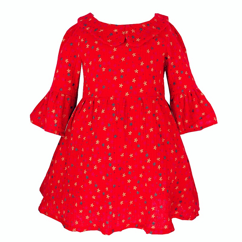 2017 Girls Cotton Princess Dress Red Peter Pan Collar  Flare Sleeve Dress For Girls Spring Autumn Star Pattern Pleated  Clothing<br><br>Aliexpress