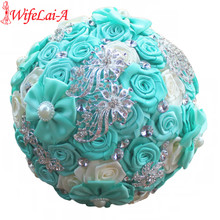 WifeLai-A New DIY Fabric Bouquet Mint Green Ivory Wedding Bouquet Crystal Brooch Bouquet Bridal Bouquet ramos de novia W2018(China)