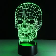 Creative Skull LED 3D Night Light Three-dimensional Kids Bedroom Living room Bedlamp Table Lamp