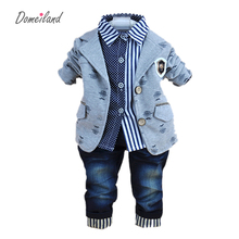 2017 new fashion baby winter clothing for 3 pcs boy clothes suits with polo shirts cotton jeans pant sets