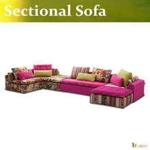 U-BEST Modern Pink Fabric Sofa Couch Sectional Set Living Room Furniture,Sectional Sofa Couch Ottoman Chaise(China)
