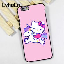 LvheCn phone case cover fit for iPhone 4 4s 5 5s 5c SE 6 6s 7 8 plus X ipod touch 4 5 6 Hello Kitty Unicorn Pink Colourful(China)
