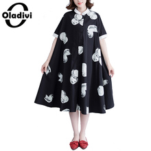 Buy Oladivi Large Plus Size Women Clothing Ladies Casual Shirt Dress Female Looose Long Tops Tunics Summer New Dresses 2018 Vestidos for $26.67 in AliExpress store