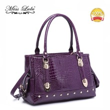 Miss Lulu Women Designer Crocodile Print Faux Leather Large Shoulder Handbag Tote Bag Purple LH6642