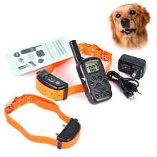 300M Rechargeable Waterproof Vibra Remote Control LCD Electric Pet Shock collars Hunter Dog Training Collar for 2 dogs(China)