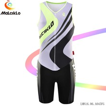 Malciklo Men Fluor Bicycle Jumpsuit sleeveless 2017 Elasticity Tight Bike jersey Set pro cycling clothing Cycling Coverall