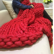 Ultra-thick Yarn Warm Blanket Air-conditioner Quilt Sofa Blanket Hand Woven Blankets 7 Colors(China)