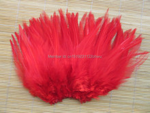 100Pcs 4-6 Inches 10-15 cm red Rooster Feather for Clothing Jewelry Hat Christmas Holiday Decorative Cock Feathers