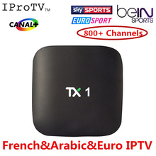 Quad Core Android TV Box with 1 Year  Europe Arabic IPTV iprotv Account  850+ Live TV with VOD movies Free test available