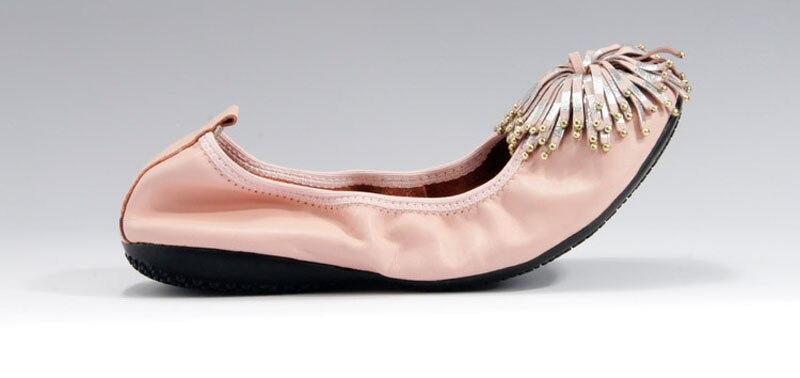Women Shoes Flats Genuine Leather Women's Moccasins Tassel Slip On Female Footwear Pink Black Loafers Soft Leisure Ballet Flats (17)