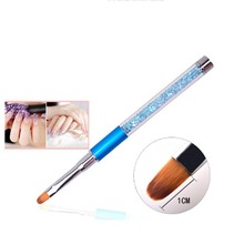 New1pcs Nail Art Brush Pen Rhinestone Diamond Metal Acrylic Handle Carving Powder Gel Liquid Salon Liner Nail Brush xgrj