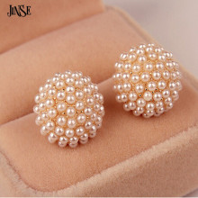 JINSE Female Popular White Beads Simulated RoundPearl Mushroom Shape Stud Earrings For Women An Exquisite&Charm Earring ERG014