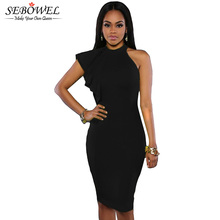 2016 New Fashion Ruffle Sleeve One Shoulder Sexy Bodycon Dress Knee Length Short Party Dress Evening Elegant Dress 61094