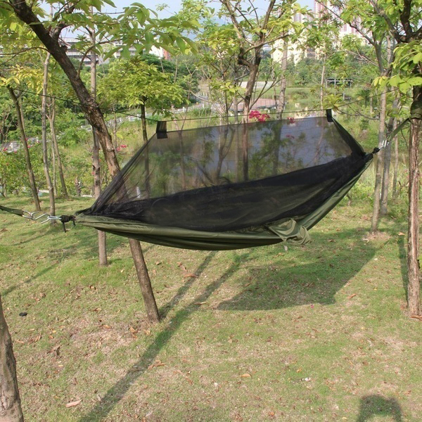 Travel Outdoor Camping Tent Hanging Hammock mosquito net Hammock Sleeping Bed Sack Army Green<br><br>Aliexpress