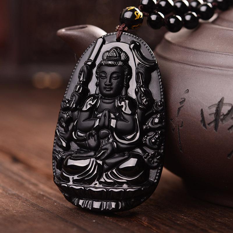 High Quality Amulet Buddha Obsidian   Charm and Amulet