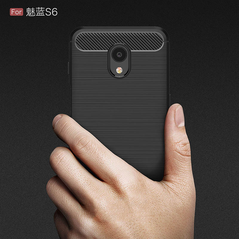carbon fiber brushed silicone case meizu m6s (6)