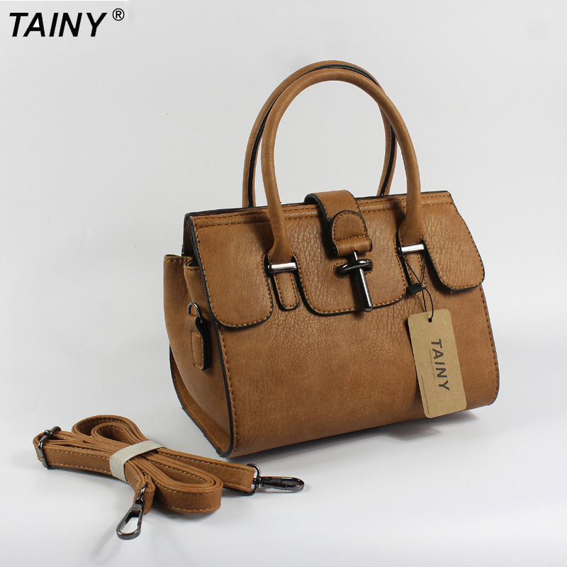 TAINY 2017 Women Messenger shoulder Bag Vintage High Quality crossbody bags Casual Solid Zipper 3 Colors fashion Small 23cm<br>