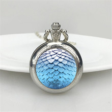 2016 New Summer Style Jewelry blue dragon scale pocket watch glass cabochon Dragon Egg Necklace(China)