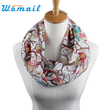 Womail Newly Design Women Ladies Owl Cartoon Print Scarf Warm Wrap Shawl O Neck Rings 160405 Drop Shipping Womail