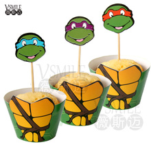 24pcs Cool Teenage Mutant Ninja Turtles Red Lips Cupcake Wrappers Topper pickers for Kids Birthday wedding Party cake Decoration