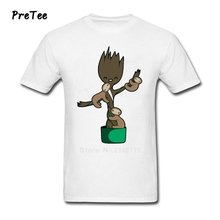 Men's T Shirt Guardians 100% Cotton Short Sleeve Crew Neck Tshirt Of Tees Adult Groot 2017 Galaxy Modern T-shirt For Man
