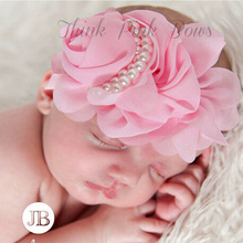 Cute Newborn Flower Headband Pearl Rose Flower Hair Accessories Stretchy HeadwearPhotographic props w--075(China)