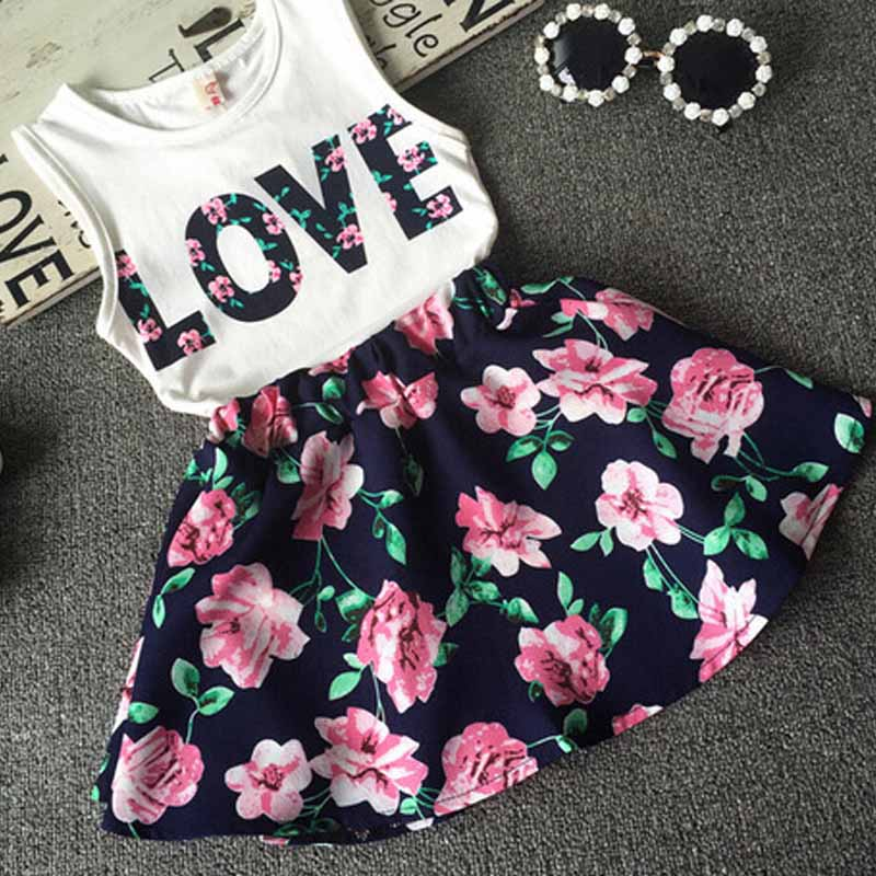summer new 2PCS fishon kids clothes love flowers  Baby toddler girl clothing  T-shirt Tank Tops and Skirt  Set Outfits Clothes<br><br>Aliexpress