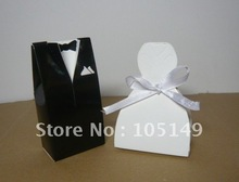 1000Pcs/lot(500pairs) Classical Candy box of Bride and Groom Wedding favor box For black and white Weeding decoration gift box