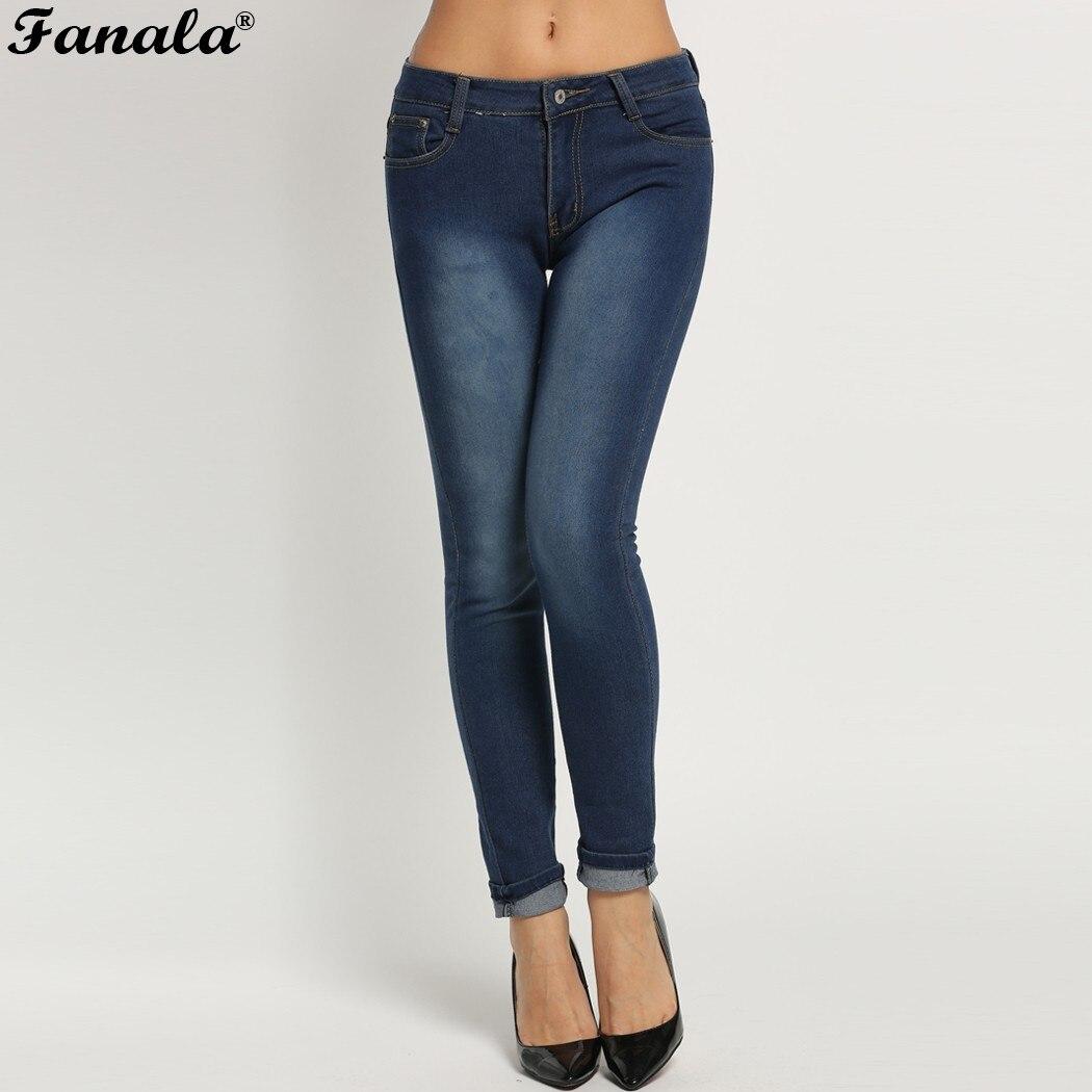 Fanala Jeans Pants Woman Autumn Winter Mid Waist High Elastic Women Jeans Femme Casual Skinny Blue Pencil Denim Pants Plus SizeОдежда и ак�е��уары<br><br><br>Aliexpress