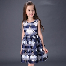 Girls printing sleeveless  dress new kids Angel princess dresses Children's Clothing summer wear teens Yarn dress 3-12years