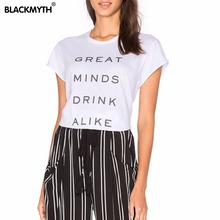 Women's Fashionable GREAT MIND DRINK ALIKE Lettered Printing Black White Loose Cozy Short sleeve Round neck T shirt