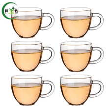 6 pcs 120ml High Quality Heat-Resisting Glass Tea Cup Xiao Ba Cup Green Tea Cup Da Hong Pao Cup(China)