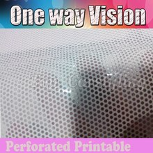 1.07x50m Printable White one way vision Vinyl Self adhesive film Paintable / perforated for advertising print PROTWRAPS