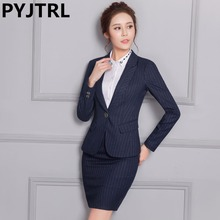 New Women Long-sleeved Stripe 2 Pieces Suit Ladies Suits For Work Single Button Female Business Suit Office Uniform Style