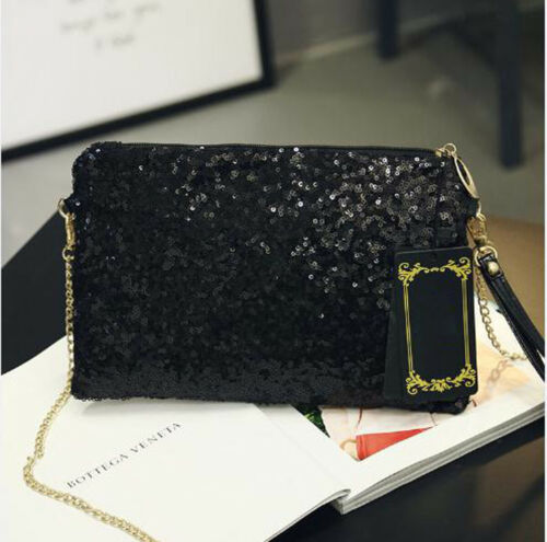 Evening Purse Tote-Chain Clutch Shoulder-Bag Sequined Fashion Handbag Shiny Ladies Women title=