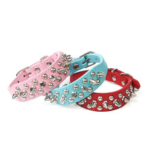 Punk Style Spiked Pet Dog Collar  2 Type Round Bullet Nail Rivet Studded Pet Collar Neck Strap Pitbull Collar Pet Products
