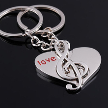 Unique 2 Pcs Lover's Cute Heart Notes Couples Alloy Key Chain Keyring Keychain Lover Gift Birthday Gift 99VR(China)