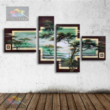 hand oil painting modern abstract oil painting on canvas wall art pine tree and sun scenery pictures for living room home AR-008(China)