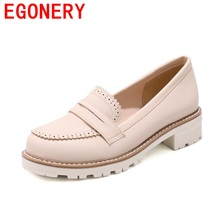 EGONERY PU comfortable breathable chaussures candy color round toe all-match style campus large size footwear platform pumps(China)
