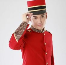red hotel uniform for men hotel reception uniform for men hotel receptionist hotel waiter clothes(China)