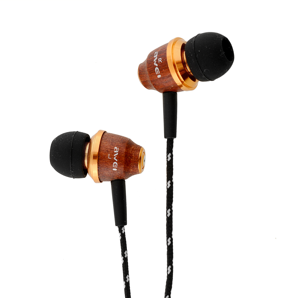Two-colors AWEI Q5 Super Bass Wooden In-Ear Earphones stereo surrounding Earbuds For iPhone MP3 Laptop<br><br>Aliexpress